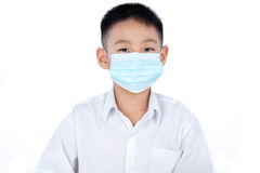 Asian Chinese Student Boy In Uniform Wearing Mask Stock Photography