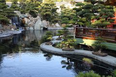 Chinese Style Garden. Asian Chinese Style Garden with tree, gardening, house, water, bridge , stone, design, architecture can be found in China, Asia Stock Images