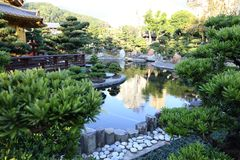 Chinese Style Garden. Asian Chinese Style Garden with tree, gardening, house, water, bridge , stone, design, architecture can be found in China, Asia Royalty Free Stock Photo