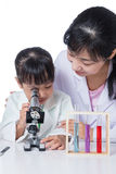 Asian Chinese teacher and little student girl working with micro Royalty Free Stock Image