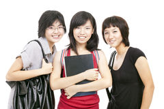 Asian Chinese Teenager girls gather after school. A group of friends, all chinese asian teenager girls dressed in campus casual look Royalty Free Stock Photos