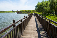 Asian Chinese, Tianjin Wuqing, Green Expo, Lakeview, wooden bridge Stock Images