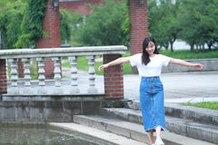 Asian Chinese university student enjoy free time at campus Stock Photos