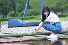Asian Chinese university student enjoy free time at campus Stock Images