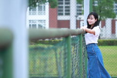 Asian Chinese university student enjoy free time at campus Royalty Free Stock Photos