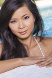 Asian Chinese Woman Girl in Swimming Pool Royalty Free Stock Photos