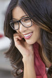 Asian Chinese Woman Girl Wearing Geek Glasses Royalty Free Stock Images