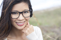 Asian Chinese Woman Girl Wearing Geek Glasses Royalty Free Stock Photos