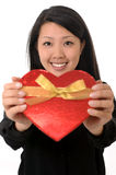 Asian chinese woman holding Heart Shape Box Stock Image