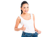 Asian Chinese woman losing weight royalty free stock photography