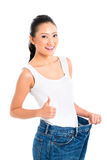 Asian Chinese woman losing weight with diet Royalty Free Stock Photo