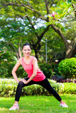 Asian Chinese woman at outdoor fitness training Stock Images