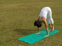 Asian chinese woman practising yoga outdoors. Asian chinese woman practising yoga on a outdoor grass patch Stock Photo