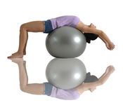 Asian Chinese Woman stretching on Gym Ball Stock Image
