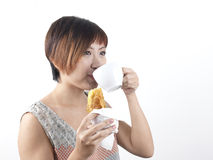 Asian Chinese Woman during Tea time royalty free stock images