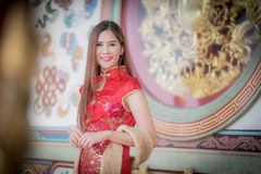 The Asian Chinese woman in Traditional Chinese Royalty Free Stock Image