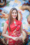 Asian Chinese woman in Traditional Chinese. By background ambience China stock image