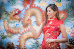 Asian Chinese woman in Traditional Chinese. By background ambience China royalty free stock images