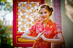Asian Chinese woman in Traditional Chinese Chinese respect stock image