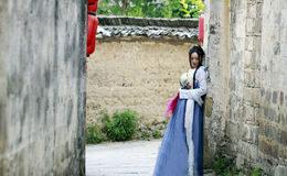 Asian Chinese woman in traditional Hanfu dress,classic beauty in Chin Royalty Free Stock Photo