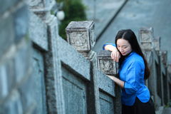 Asian Chinese woman in traditional student suit in The Republic of China royalty free stock image