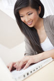Asian Chinese Woman Using Laptop Computer Stock Photography