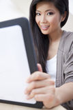 Asian Chinese Woman Using Tablet Computer Stock Image