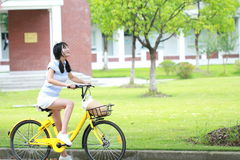 Asian Chinese Young beautiful, elegantly dressed woman with Sharing bicycle. Beauty, fashion and lifestyle royalty free stock image
