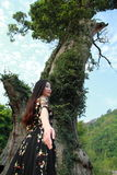 Asian Chinese Young girl dance and pray in front of an old tree. Asian Chinese Young beautiful woman enjoy free time, beautiful graceful girl, healthy living Stock Photos