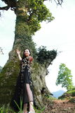 Asian Chinese Young girl dance and pray in front of an old tree. Asian Chinese Young beautiful woman enjoy free time, beautiful graceful girl, healthy living Royalty Free Stock Photos