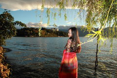 Asian Chinese Young girl enjoy peaceful life Stock Image