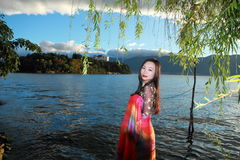Asian Chinese Young girl enjoy peaceful life by Yunnan erhai Royalty Free Stock Image