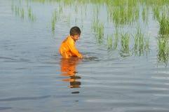 Asian chlidren, water, little boy, danger Stock Photography