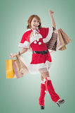 Asian Christmas girl hold shopping bags Stock Photo