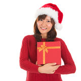 Asian Christmas Girl Holding Gift Box Royalty Free Stock Image
