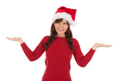 Asian Christmas girl showing empty palms Royalty Free Stock Photos