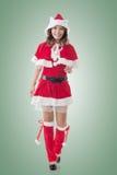Asian Christmas girl walk Royalty Free Stock Photos