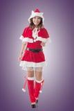 Asian Christmas girl walk Royalty Free Stock Photo