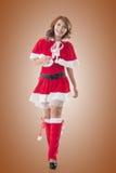 Asian Christmas girl walk Royalty Free Stock Image