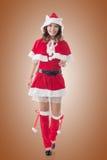 Asian Christmas girl walk Royalty Free Stock Images