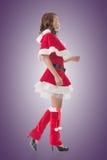 Asian Christmas girl walk Royalty Free Stock Photography