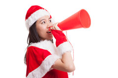 Asian Christmas Santa Claus girl announce with megaphone. Isolated on white background Royalty Free Stock Photography
