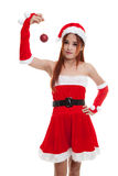 Asian Christmas Santa Claus girl   with bauble ball. Stock Images