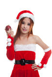 Asian Christmas Santa Claus girl  with bauble ball. Royalty Free Stock Images