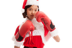 Asian Christmas Santa Claus girl  with boxing glove. Isolated on white background Stock Photos
