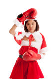 Asian Christmas Santa Claus girl  with boxing glove. Isolated on white background Stock Image