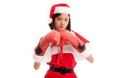 Asian Christmas Santa Claus girl  with boxing glove. Isolated on white background Stock Photography
