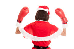 Asian Christmas Santa Claus girl  with boxing glove. Isolated on white background Royalty Free Stock Photography