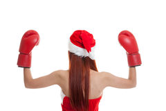Asian Christmas Santa Claus girl  with boxing glove. Asian Christmas Santa Claus girl  with boxing glove  isolated on white background Stock Images