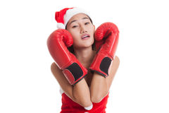 Asian Christmas Santa Claus girl  with boxing glove. Asian Christmas Santa Claus girl  with boxing glove  isolated on white background Royalty Free Stock Image